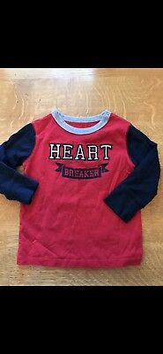 Baby Gap 18-24 Mos Boy Navy Red Valentines Day Heart Breaker Graphic Tee T Shirt