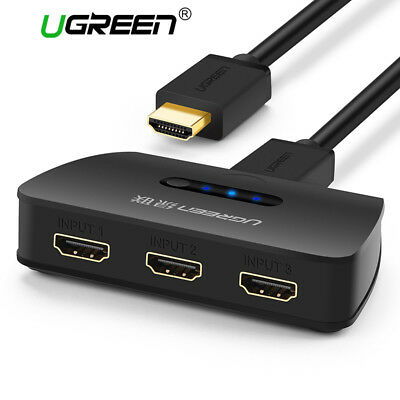 UGREEN 3 Port HDMI Switch 1080P 3 in 1 Out Splitter Switcher Adapter Fr XBOX PS4