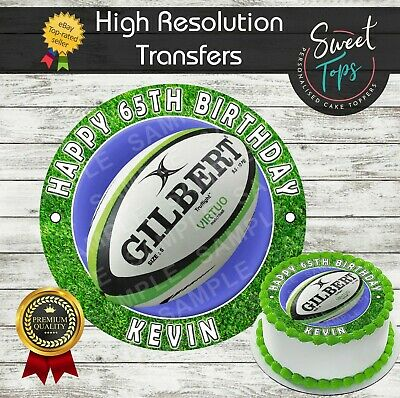 Rugby Edible Round Birthday Cake Topper Decoration Personalised