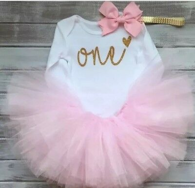 Baby Girls 1st First Birthday Cake Smash Tutu Skirt Top Headband Pink Outfit