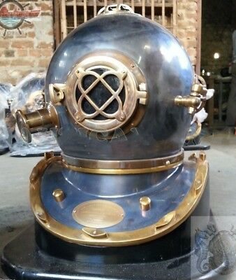 Vintage Antique Mark V U.s Navy Diving Divers Helmet Copper & Brass With Base