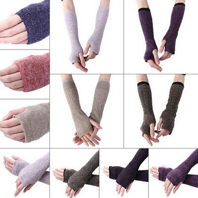 Womens Long Fingerless Gloves Arm Warmers Knit Thumbhole Stretchy Gloves