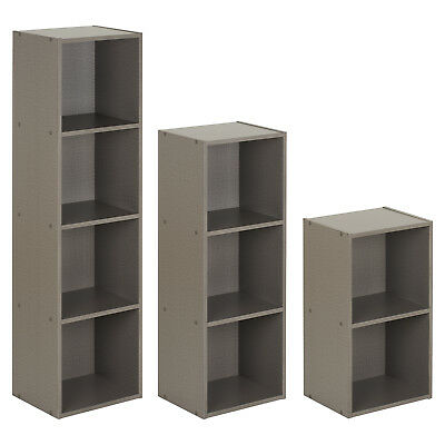 Hartleys Grey Bookcase Freestanding Storage Shelving Display Shelf Wooden Unit
