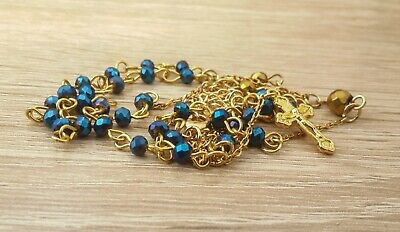 Deep Blue Crystal Beads Rosary 18k Gold Plated Necklace Hematite Medal & Cross