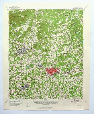 EASLEY SOUTH CAROLINA Vintage USGS Topo Map 1957 Pickens Liberty ...