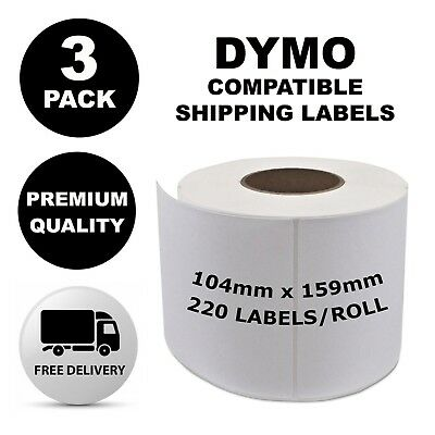 3 Pack Dymo Compatible 4XL S0904980 Shipping Labels 104x159mm [Regular Post]