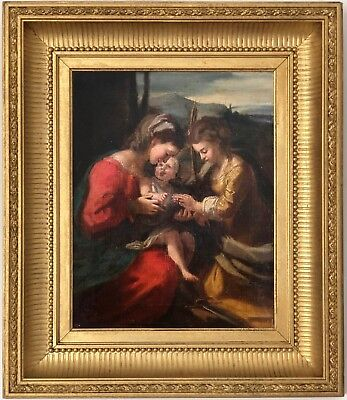 The Mystic Marriage Antique 19th Century Italian Old Master Oil Painting