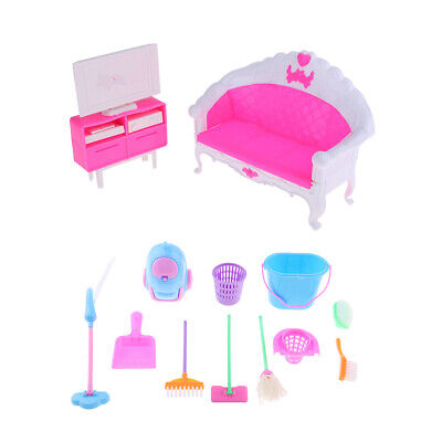 1/6 BJD Girl Dolls Mini Cleaning Toys & Sofa TV Cabinet Furniture Playsets