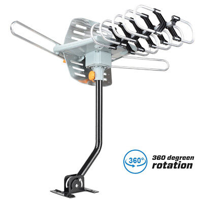 150Miles HDTV Outdoor Amplified TV Antenna HD 36dB Rotate 360° UHF/VHF/FM + Pole