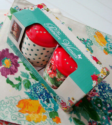 The Pioneer Woman Salt and Pepper Shakers Set Country Garden Floral Polka Dots