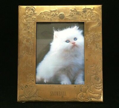 Vintage Brass Plated Etched Cat Picture Frame for White Cat Snowball 119
