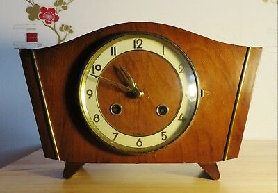 Vintage FHS Hermle 130-020 chime wind up wooden mantel shelf clock with key