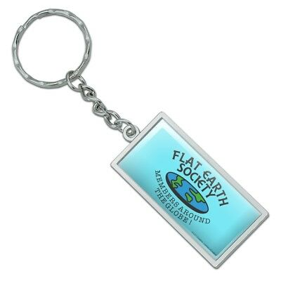 Flat Earth Society Members Around the Globe Funny Humor Rectangle Metal Keychain