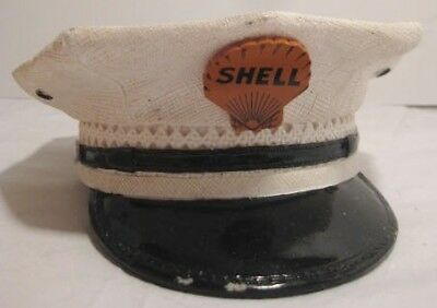 """Unusual Old Figural Coin Bank SHELL Oil Company Gas Station Man Hat 5  3/4"""" 1970"""