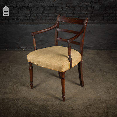George III Upholstered Mahogany Arm Chair
