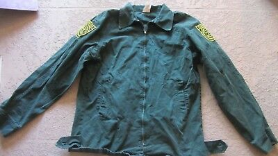Long Sleeve Green Florida Fire Fighters Forestry Jacket w/ Patches Size Small L