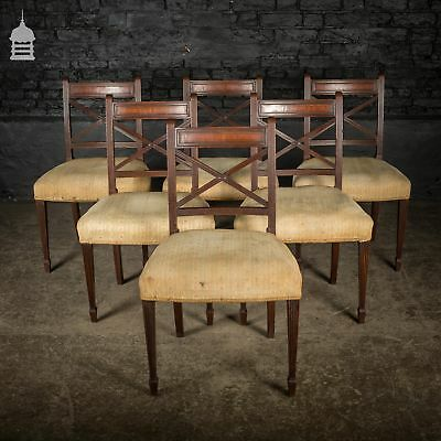 Set of Six George III Reeded Mahogany Dining Chairs for Reupholstery