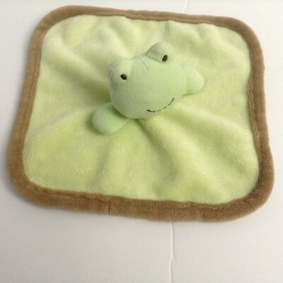 Cuddle Time Green Frog Security Blanket Lovey Brown Edging