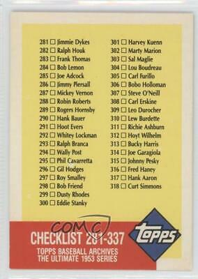 1991 Topps Archives The Ultimate 1953 Set #337 Checklist Baseball Card