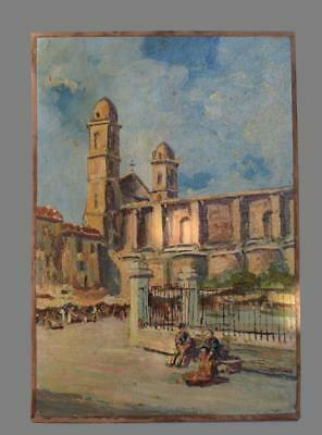 Vintage French Oil Painting on Wood Panel of a South France Market Day