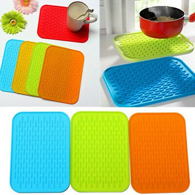 Kitchen Anti-skid Rectangle Pot Holder Silicone Dish Drying Heat Resistant-Mat/