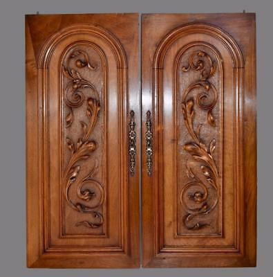 Pair Antique French Hand Carved Solid Wood Architectural Doors Wall Panels