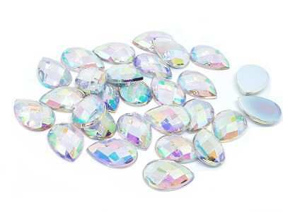 40 PERLES STRASS CABOCHON GOUTTE A COLLER ACRYLIQUE TRANSPARENT 10 X 14 mm