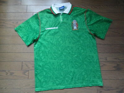 48182eff2 Mexico 100% Original Soccer Jersey Shirt 1994 World Cup Home L USED Rare
