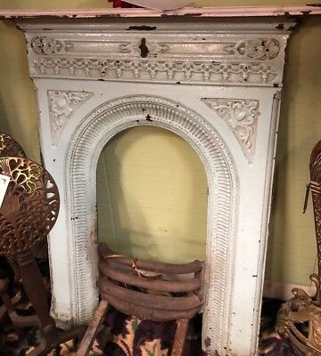 Antique Victorian Cast Iron Fireplace Mantel With Original Finish