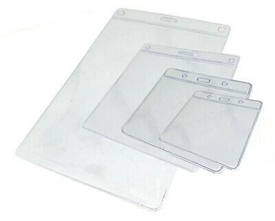 ID Badge Card Plastic Pocket Holder Clear Pouches for lanyards & Reels