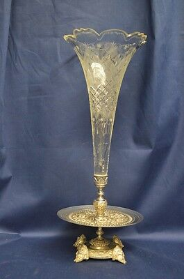 Antique Cut Crystal and Silver Plate Epergne - 19th Century