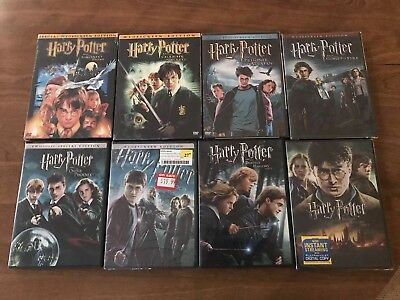 Harry Potter Complete 8 DVD Film Lot Collection All DVDs - 7 New 1 Used Movies