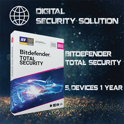 BitDefender Total Security 2020 5 Devices 1, 2, 3, 4 & 5 Years + Service Plan