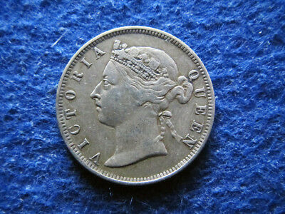 1894 Straits Settlements Silver 20 Cents - Nicer Grade  - Free U S Shipping