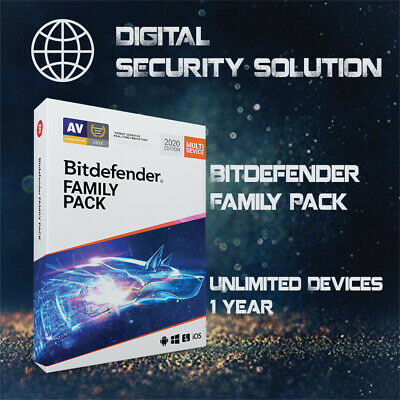 Bitdefender Family Pack 2020 Unlimited Devices 1,2,3,4&5 Years + Service Plan