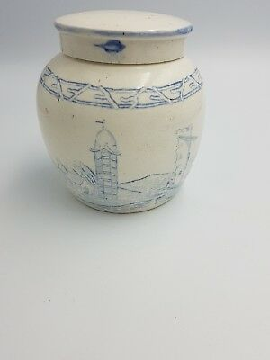 Antique Chinese Blue White Provincial Ming Stoneware Ginger Jar Pot W/lid Scenic