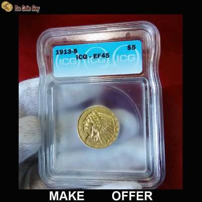 1913 S GOLD $5 INDIAN HEAD HALF EAGLE, ICG EF45 EXTRA FINE! Beautiful Coin!