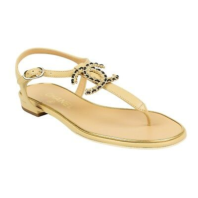 eed1bfc9525d8 NIB CHANEL Beige Gold Chain Logo Leather Sandals Shoes Size 6 US 37 EU