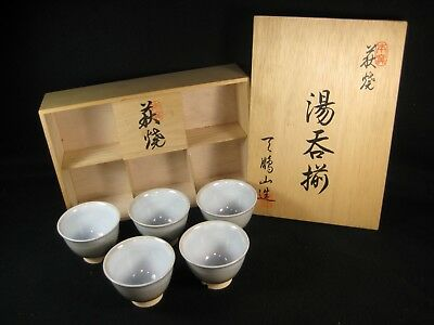 Vintage Set Of 5 Japanese Signed Hand Made Ceramic Tea Cup Yunomi W/ Box