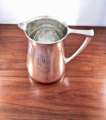 Rare Durgin Arts & Crafts Sterling Silver Pitcher 4 Pints: Hand Hammered 1916