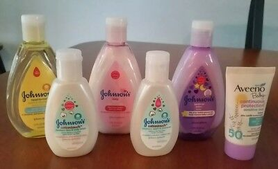 New Johnson's Baby Lotion Body Wash Sample Travel Size Lot of 6