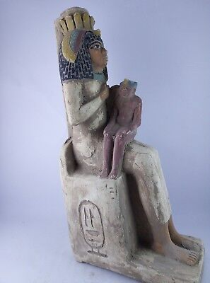 ANCIENT EGYPT ANTIQUE EGYPTIAN Statue Stone Queen Seated Nursing Child 1500 Bc