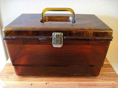 VINTAGE WILSON WIL-HOLD STYLE AMBER SEWING BOX with ONE TRAY~MADE IN USA