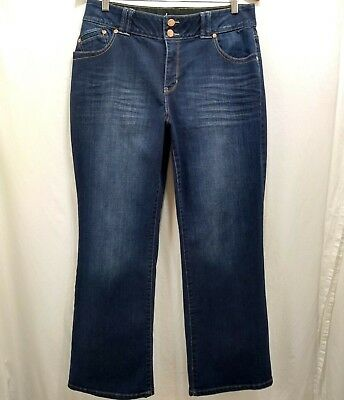 Lane Bryant Womens 14P Jeans Tummy Control Stretch Mid Rise Boot Cut Distressed