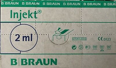B Braun Injekt 2ML Medical Syringes STERILE LATEX DEHP PHT PVC FREE CE marked