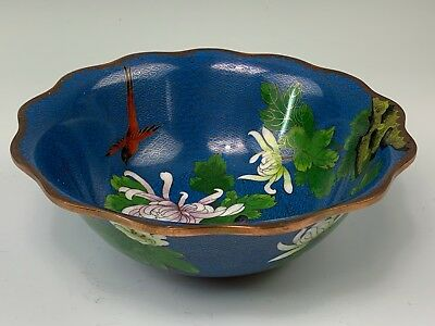 "Chinese Cloisonne Floral 9"" Bowl With Mums & Red Bird"