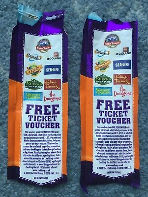 2x FREE ENTRY TICKET VOUCHERS Lego/Sealife/Dungeons/Alton Towers/Thorpe Park etc