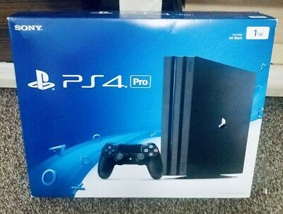 Sony PlayStation Pro 4 1TB Jet Black Console With Original BOX & 3 Games