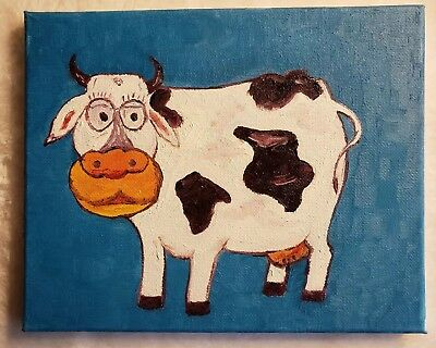 8×10 Cow Acrylic Painting