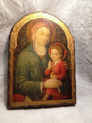VTG BELLINI Print Religious Picture On Wood- Virgin Mary Baby Jesus Angels